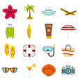 summer rest set flat icons vector image