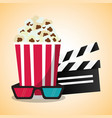 cinema pop corn clapper and 3d glasses vector image