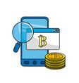 smartphone with bitcoin currency and digital icons vector image