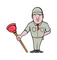 plumber with plunger standing vector image vector image