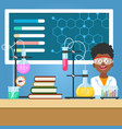 school boy with chemistry equipment vector image