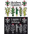 christmas cactus set christmas cactus set vector image