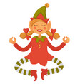 girl elf in cone hat and striped leggings meditate vector image