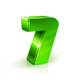 glossy green seven 7 number 3d on vector image