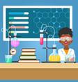 school boy with chemistry equipment vector image
