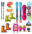 Ski and snowboard color equipment line icon vector image