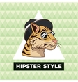 portrait tiger hipster style green geometric vector image