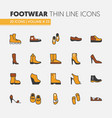 footwear linear thin line icons set with boots vector image vector image
