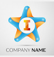 letter i logo symbol in the colorful star on grey vector image