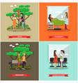 set of maternity hospital posters in flat vector image