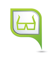 3d cinema glasses icon on green map pointer vector image