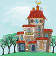 fairytale cheerful multicolored multi-storey house vector image
