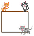 border template with three cats vector image