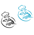 Chef with silver tray in cartoon style vector image