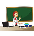 curious businesswoman pointing vector image