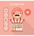 Donut shop design element set Food delicious vector image