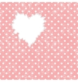 Hole in heart shape on Polka dot background vector image