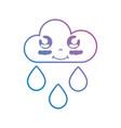 line kawaii cute happy cloud raining vector image