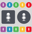 microphone icon sign A set of 12 colored buttons vector image