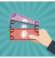 Russian Rubles In Hand vector image