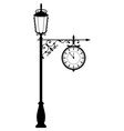 Vintage black lamppost with clock isolated on vector image