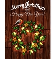 Christmas wreath with holly on wooden background vector image