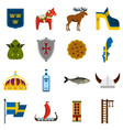 sweden travel set flat icons vector image