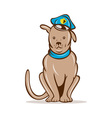 Cartoon police dog with cap sitting vector image