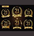 anniversary golden laurel wreath 21 years vector image vector image