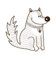 Cute character Dog with heart on collar vector image