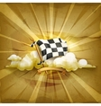 Checkered flag old style background vector image