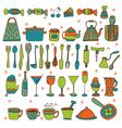 Set of hand drawn kitchen equipments vector image vector image