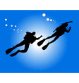 Silhouettes of two divers vector image