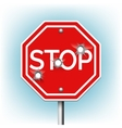 Stop sign with bullet holes vector image vector image