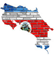 costa rica map on a brick wall vector image