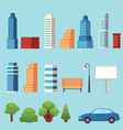 flat city urban objects set vector image