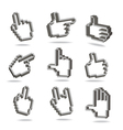 Pixel hand cursors collection in perspective vector image