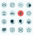 set of 16 eco-friendly icons includes bonfire vector image