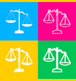 scales of justice sign four styles of icon on vector image