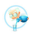 icon with cartoon whiskered scientist vector image