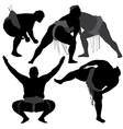 Sumo Wrestling Silhouette vector image vector image