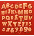 Christmas gingerbread cookies alphabet and numbers vector image