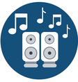 audio speakers icon with music notes vector image