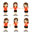 woman brunette standing chatting vector image vector image