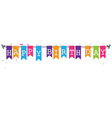 Bunting flags banner with happy birthday letter vector image