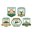 hunting club hunt open season icons badges vector image