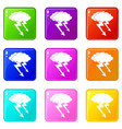 lightning cloud icons 9 set vector image