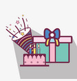 line cake with gifts and cap birthday celebration vector image