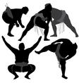 Sumo Wrestling Silhouette vector image