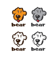 set of faces of cartoon bear vector image
